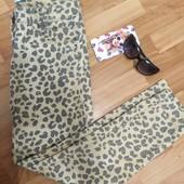 Леопардові джинси! Укорочені, розмір L!!! . Легкі джинси!