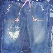 Готовимся к холодам!Утепленные джинсы для девочки на 6 мес.