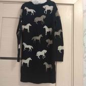 M&S платье свитер очень теплое вязаное двойное 6-7л 116-122 см осень зима