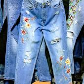 Новые турецкие джинсы с высокой талией, МОМ, р. 27, поб 47 см, пот 37 см