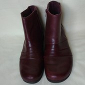 Кожаные бордовые ботинки деми, Clarks,39,5(25,5см)