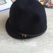 Черная шляпа котелок 100%шерсть
