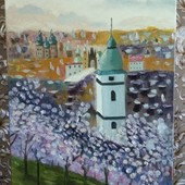"""Картина """"Весна в Праге"""". Масло, холст на подрамнике"""