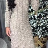 Теплое платье, крупная вязка. С-М