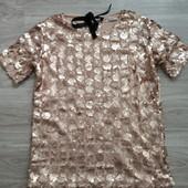 Фирменная красивая блуза в мелкую и крупную пайетку, отличное состояние р.16-18