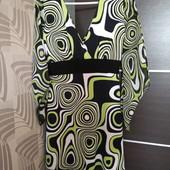 Фирменное красивое трикотажное платье с шифоновыми рукавами в отличном состоянии р.12-14.