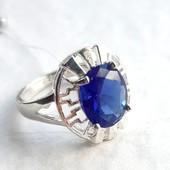 Серебряное кольцо с Сапфиром, 925 проба