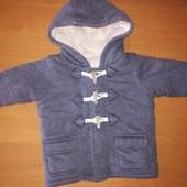 George тканевая куртка на меху, на 3-6 месяцев, на змейке и пуговицах