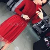 Новинка! шикарное вязанное платье с фатиновой юбкой 42-48р