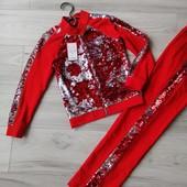 Эффектные костюмчики «Пайеточка» на рост 122, 152см красного цвета
