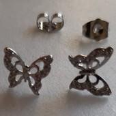 Красивые серьги-гвоздики Бабочки, позолота Белое золото