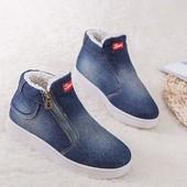Зимние ботинки джинс на меху sports (унисекс) на р. 41-42