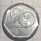 Монета Чехии 20 геллеров 1994