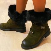 Бомбовские ботинки/сапожки два в одном, натуральный мех кролика.