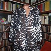 Красивая блуза зебра, шифон, укороченный рукавчик, р.20 (48 евро), см замеры