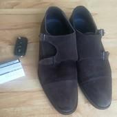 Стильные мужские туфли монки 28 см по стельке натуральный замш