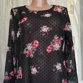 Шифоновая блуза с кружевом