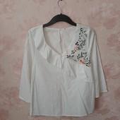 Красивая хлопковая блуза с вышивкой ! УП скидка 10%