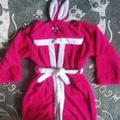 Махровый халат на девочку, зайчик, 10-12