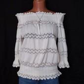 Очень красивая ажурная блузочка с открытыми плечами,6р(xs/s)