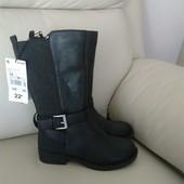 !Новые Фирменые Франция Kiabi шикарные кожаные сапоги на любое время года Р 28,31, 34
