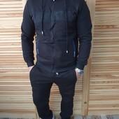 Теплый мужской спортивный костюм на флисе