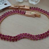 шикарный и изящный браслет, малиновые фианиты, р. 17/19.5 см, позолота 585 пробы