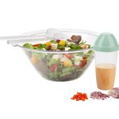 Отличный набор салатница, ложки и шейкер для соуса. Супер набор для приготовления салата Ernesto