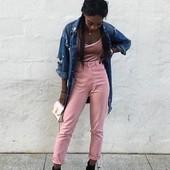 Розовые джинсы Zara Trafaluc размер 36( высокая талия)