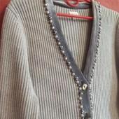 Кардиган с велюровой отделкой и жемчугом
