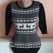 Класний брендовий светр-туніка,вказано р.10.Заміри