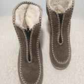 Теплые войлочные на овчине ботиночки бурочки на танкетке