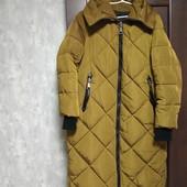 Фирменный теплющий водоотталкивающий пальто-пуховик с капюшоном н тинсулайте р.16 отличное состояние