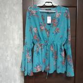 Фирменная новая шифоновая блуза-кардиган р.16-20