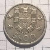 Монета Португалии 5 эскудо 1966