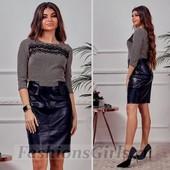 Новое! Шикарное платье с кожаным низом, качество люкс, размер 44-46 (есть замеры)