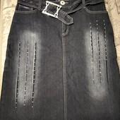 Джинсовая юбка стрейч на флисе р.32 смотрите замеры