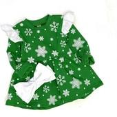 """Платье новогоднее """"Cнежинка"""" c бантом, футер с начёсом, для ваших конфеток, от года до 6 лет!"""