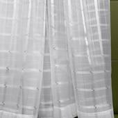 Тюль капрон с атласными вставками белая цена за 1 м