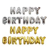 Банер !Многоразовые Фольгированные шарики-надписи Happy Birthday большие буквы высота одной 40/44 см
