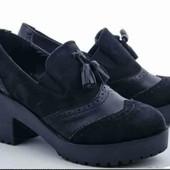 Чёрные лоферы, р.36 (23 см) туфли, ботинки