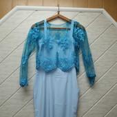 Плаття з гіпюровим топом,розмір М.Орієнтуйтесь по замірах! Читаєм опис!