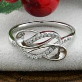 Кольцо, размер 19, позолота Белое золото