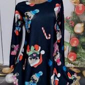 Вау! Бомбезное новогоднее платьице свободного кроя размер S/M