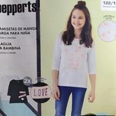 Комплект 2 шт регланы лонгсливы с рукавом 3/4 на девочку Pepperts Германия 146/152