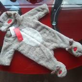 F&F комбинезон деми 0-3м 56-62см новорожденному новогодний костюм оленёнок Рудольф слип капюшон