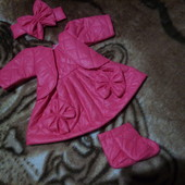 комплект платье+ кофта +повязка +сапожки на пупса беби бёрн