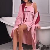 Махровый халат и ночнушка, двойка набор