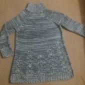 Вязанные платье с ажурным низом и манжетами.размер 18/46