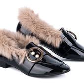 Утепленные туфли черного цвета, размер 39-24,5 последние! УП-5%